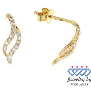 Natural Diamond Leaf Stud Earrings 14K Yellow Gold